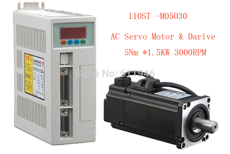 1set 110ST-M05030 AC SERVO MOTOR 5.0N.M 1.5KW WITH DRIVER AND CABLE