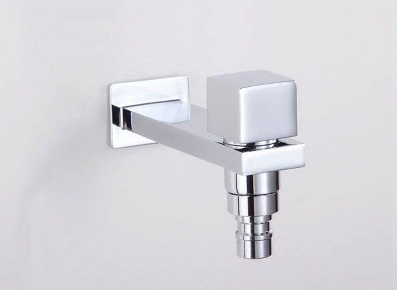 Brass Chrome Washing Machine Mop Pool Lengthen Faucet Bibcock Copper Tap for Bathroom and Outdoor