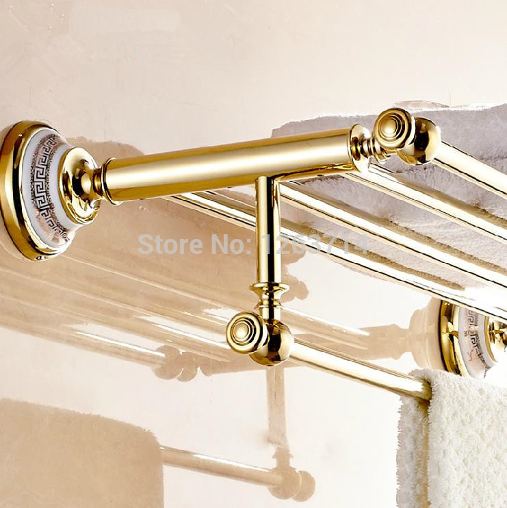 Luxury Brass Bathroom Accessories Copper Golden finish Bath Double Towel Shelves Towel Racks Towel Bar Wall Mounted OG-27822C