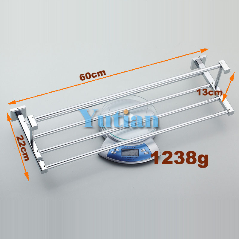 HOT SELLING,, Bathroom towel holder, Foldable  towel rack,60cm solid brass  towel rack with hooks