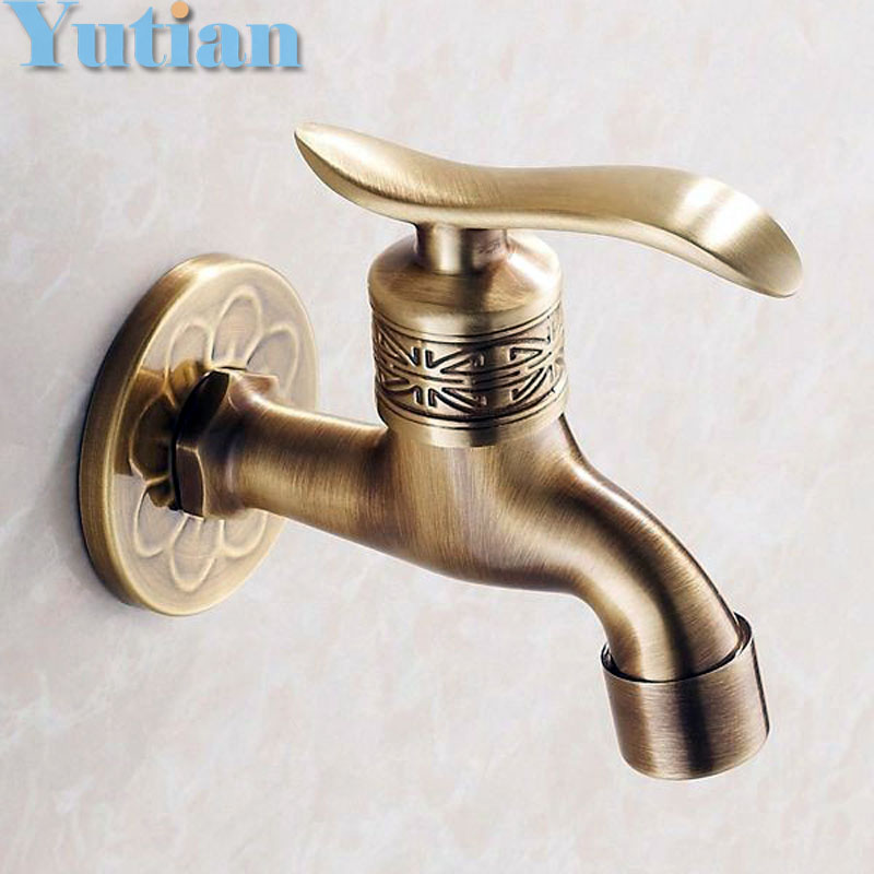 Bibcock faucet tap crane Antique Brass Finish Bathroom Wall Mount Washing Machine Water Faucet Taps YT-5161-B