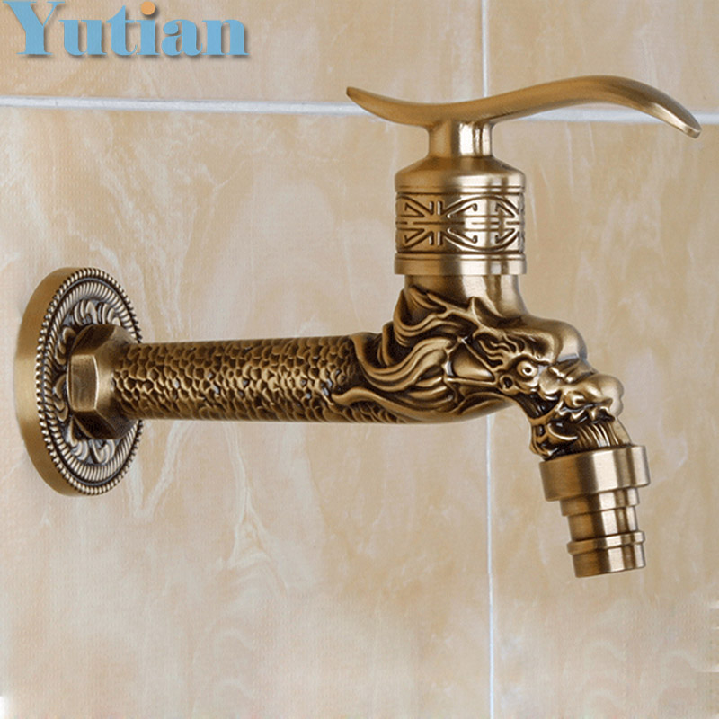 Antique Bronze Dragon Carved Tap Animal Shape Faucet Garden Bibcock Washing Machine Faucet Outdoor Faucet For Garden YT-5157-A