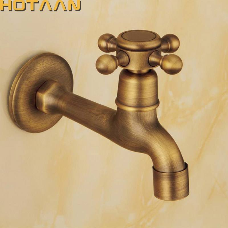 Long garden use Bibcock faucet tap crane Antique Brass Finish Bathroom Wall Mount Washing Machine Water Faucet Taps YT-5158