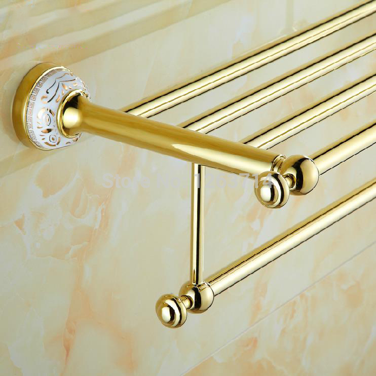 Towel Racks Wall Mounted Towel Shelf Brass Finish Double Bathroom Accessories Bath Towel Holder Gold-plating Retro HJ-1913K