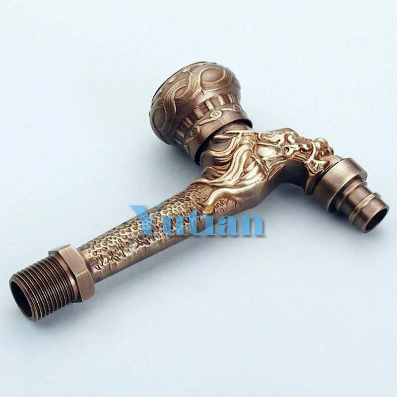 Long garden use Bibcock faucet tap crane Antique Brass Finish Bathroom Wall Mount Washing Machine Water Faucet Taps YT-5164-A