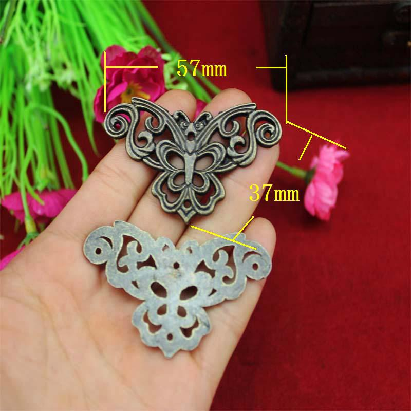 57*37MM 50pcs butterfly carved furniture decorative Fillet corners piece vintage wooden box jewelry gift box corners
