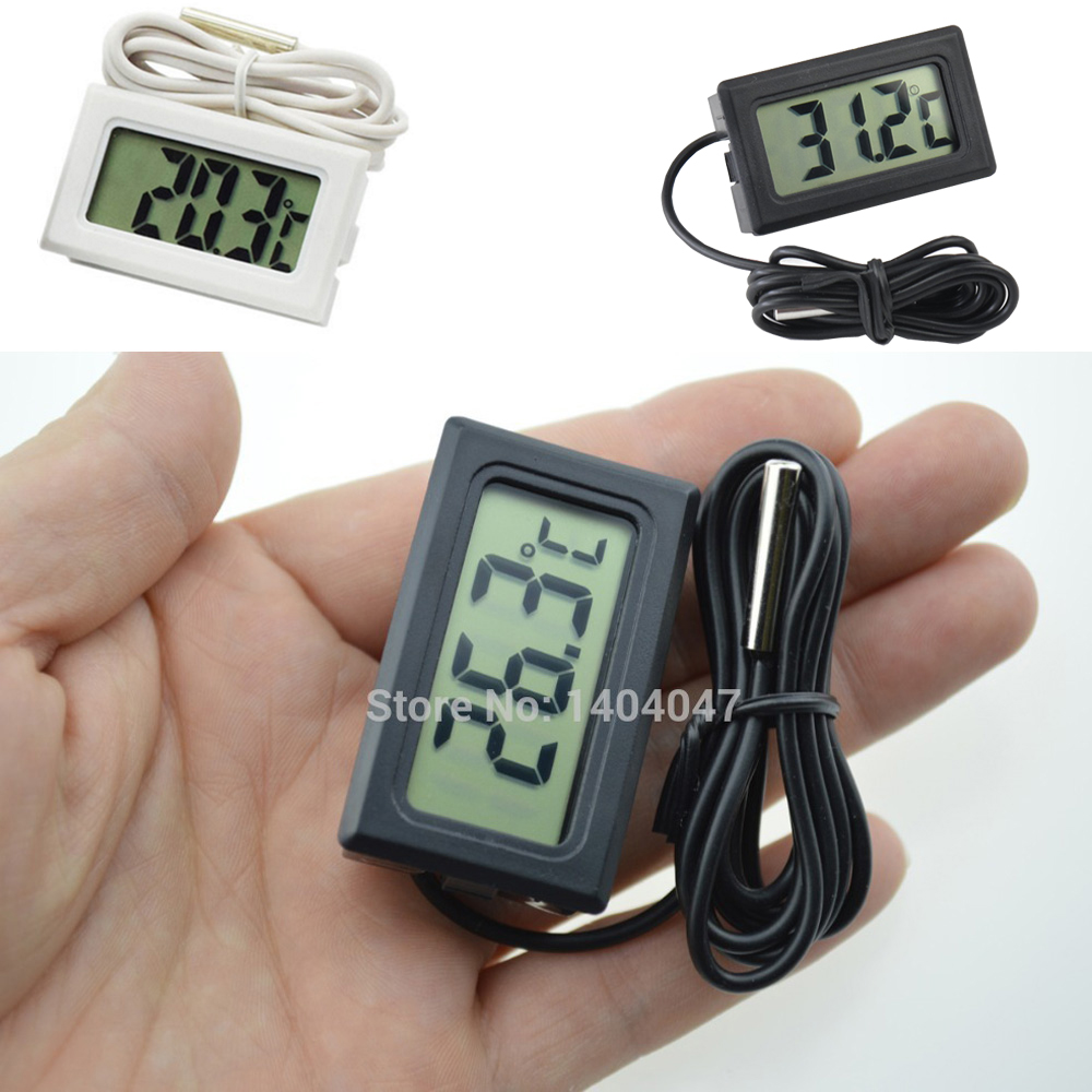 1PC Mini LCD Display Inlay Digital Thermometer Probe Refrigerator/Fish Tank Temperature Tester( -50C~110C ) Include Batteries
