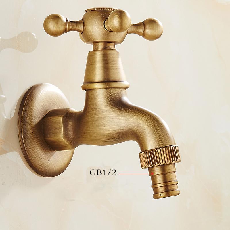 ... Bibcock Faucet Retro Antique Brass Wall Mounted Bathroom Washing Machine Faucet Mop Sink Taps Outdoor Faucet ...