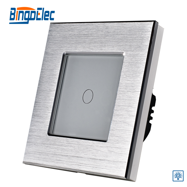 EU/UK standard ,1gang 1way touch screen dimmer light switch 700W ,silver aluminum and glass panel touch switch ,Hot sale