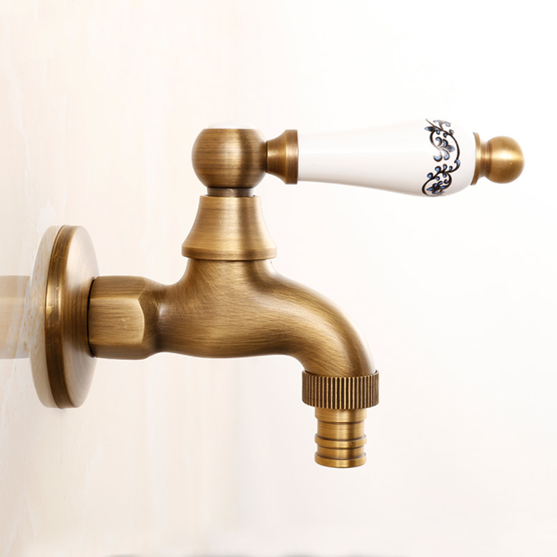 ... Bibcocks Faucet Brass Antique Washing Machine Tap Wall Garden Small Faucet Water Cold Ceramic Lever Laundry ...