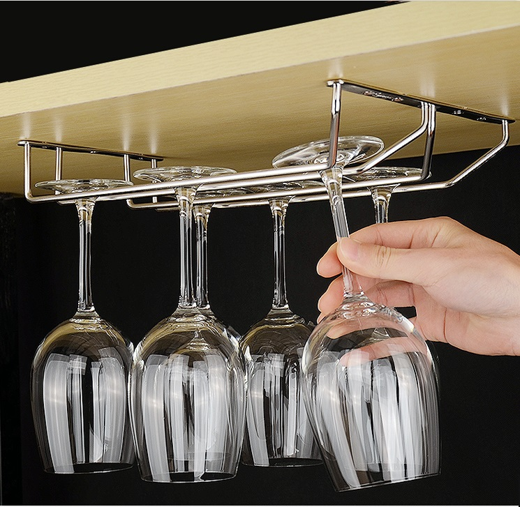 "304 Stainless Steel 35cm (18"") Under Cabinet Wine Glass Rack Stemware Holders Hanger Double Rows Top Mount"