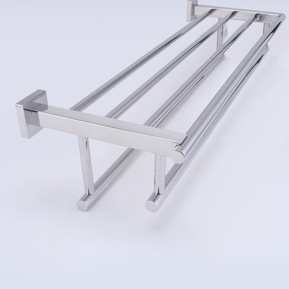 Mirror Polishing 304 Stainless Steel Shelf With Towel Rack Stainless