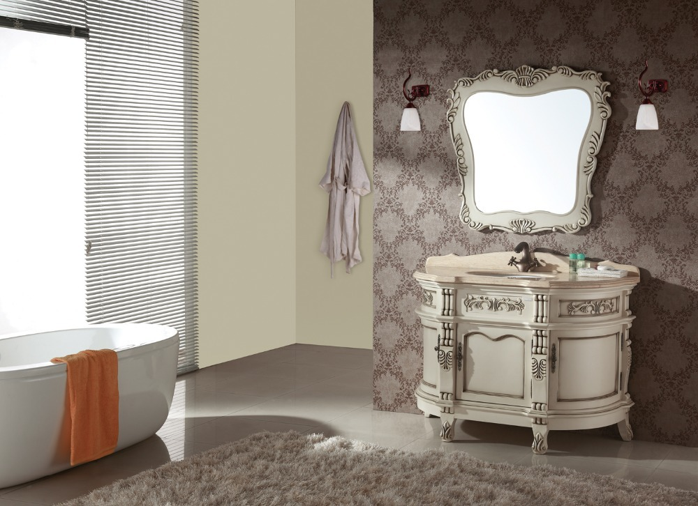 solid wood bathroom cabinet with luxury design