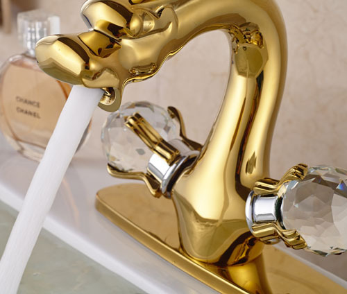 Golden Brass Dragon Shape Bathroom Basin Faucet Two Crystal Handles Mixer Tap With Cover Plate