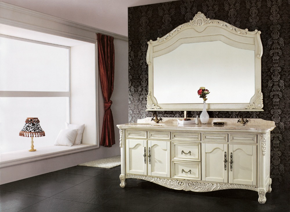 white antique double sink bathroom vanity