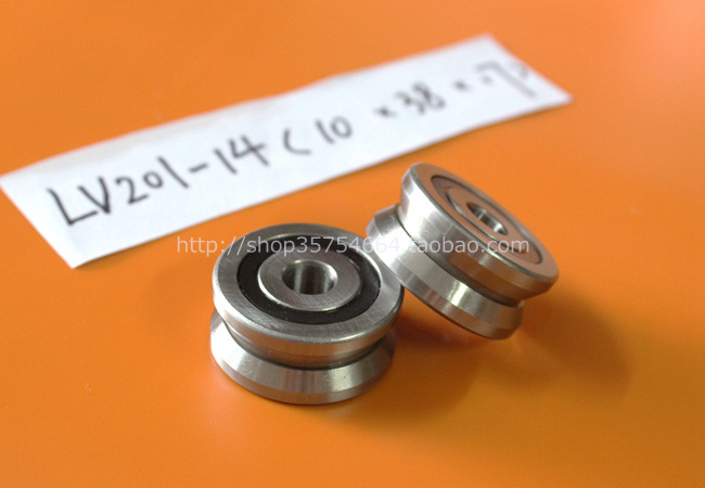 Bearing steel V groove double row roller guide bearing LV201-14RS size 10*38*17mm non textile standard