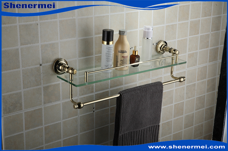 2015 Top sale Single Glass Shelf Golden Brass Made Base Towel Shelf Double-deck Space Towel Rack for Bathroom Accessories