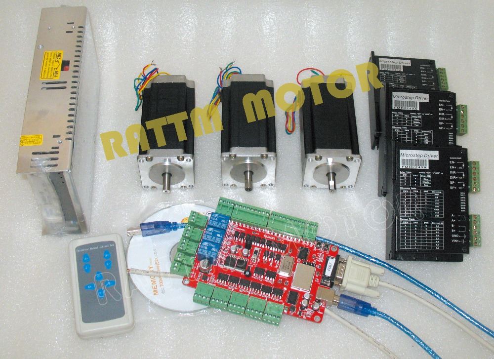 DE /US Delivery!!  USB port 3 Axis CNC Nema23 425oz-in (Dual shaft) stepper motor & Motor Driver  Controller Kit