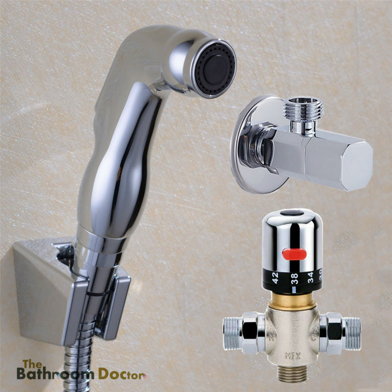 Thermostatic Mixer Valve & ABS Bidet Sprayer Shattaf Douche Kit + Shut-off Valve 02-005te