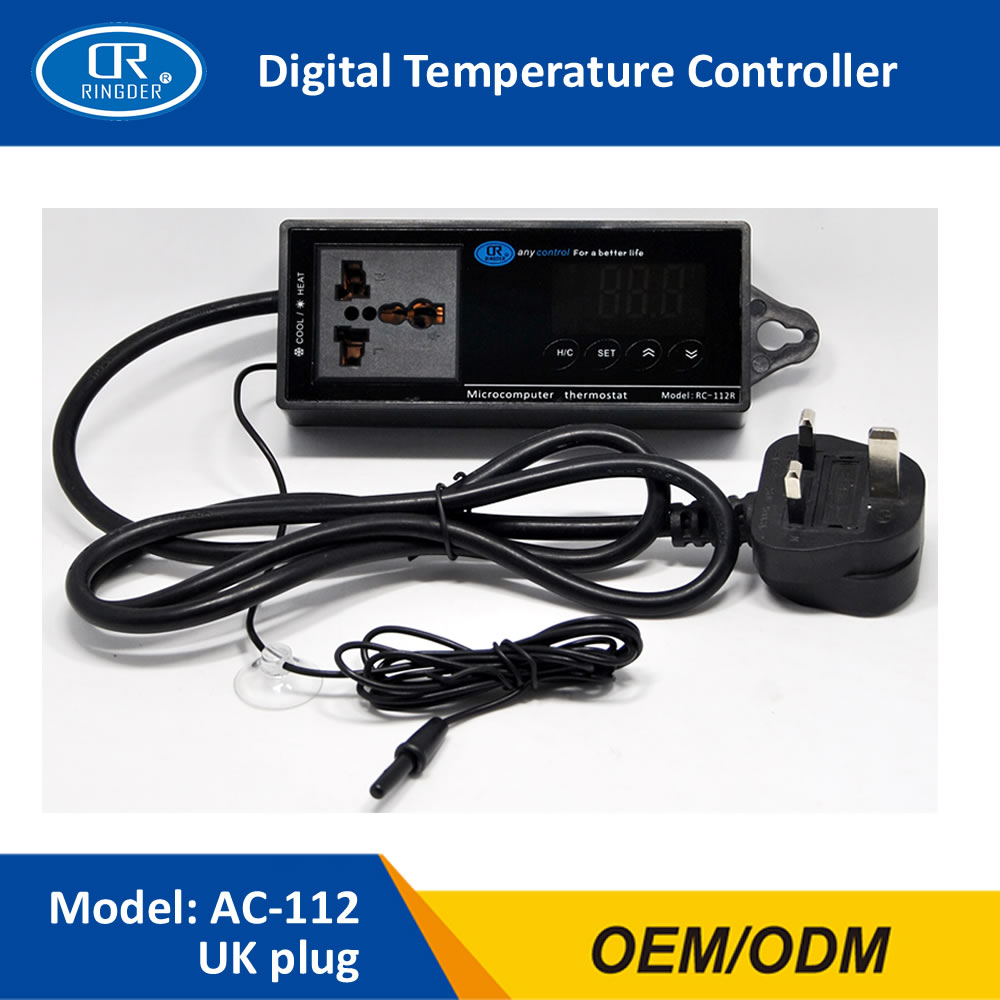 RINGDER AC-112 16-40C Digital Reptile Thermostat with Plug and Universal Socket ON/OFF Regulator Aquarium Temperature Controller