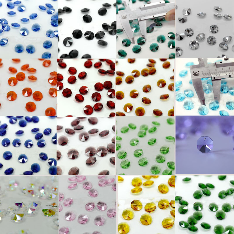 Nice Mixed Color 100pcs crystal glass octagon beads 1 hole for chandeliers parts,crystal curtain accessories decoration
