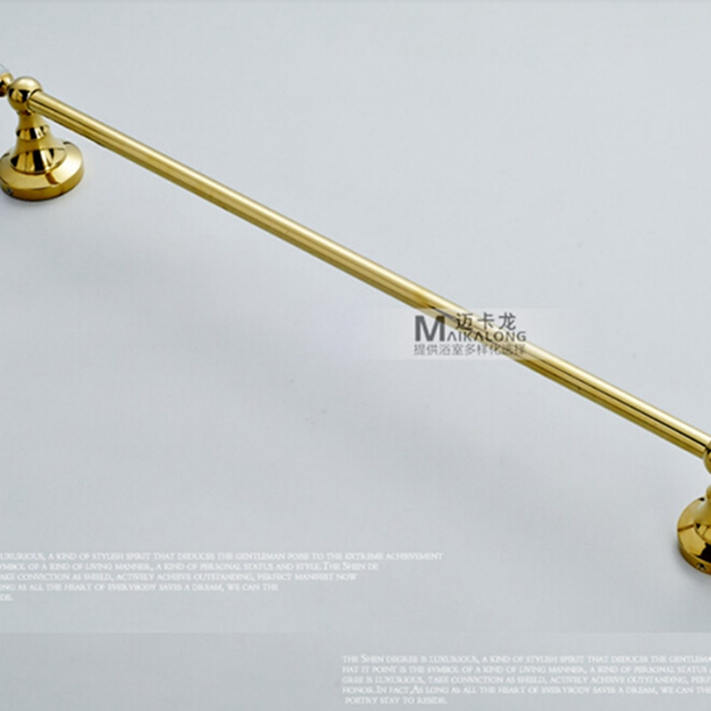 Wholesale And Retail Polished Golden Brass Bathroom Towel Rack Holder Towel Bar Crystal Hooks Hanger Wall Mounted