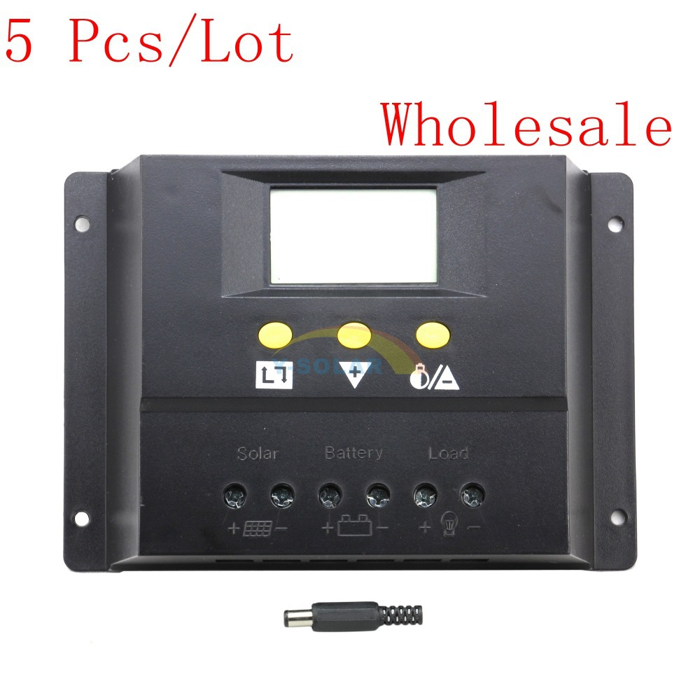 5PCS/LOT Wholesale 60A Solar Controller 12V 24V Solar Panel Battery Charge Controller Home System Short Circuit Protection