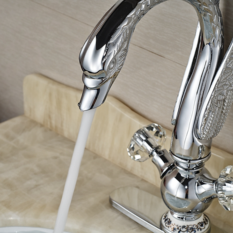 "Wholesale And Retail Crystal Handles Luxury Swan Faucet Ceramic Base Deck Mounted Sink Mixer Tap W/ 8"" Plate"
