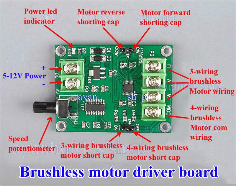 7V-12V DC Brushless Motor Driver Board Controller for 3//4 Wires Hard Drive Motor