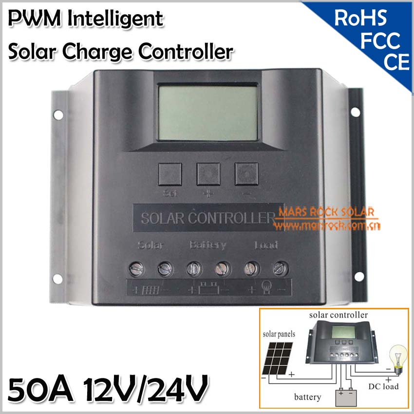 Carregador Solar, Solar Charge Controller 50A 12V/24V, PWM Solar Regulator 50A, Automatic Identification Controller, LED Display
