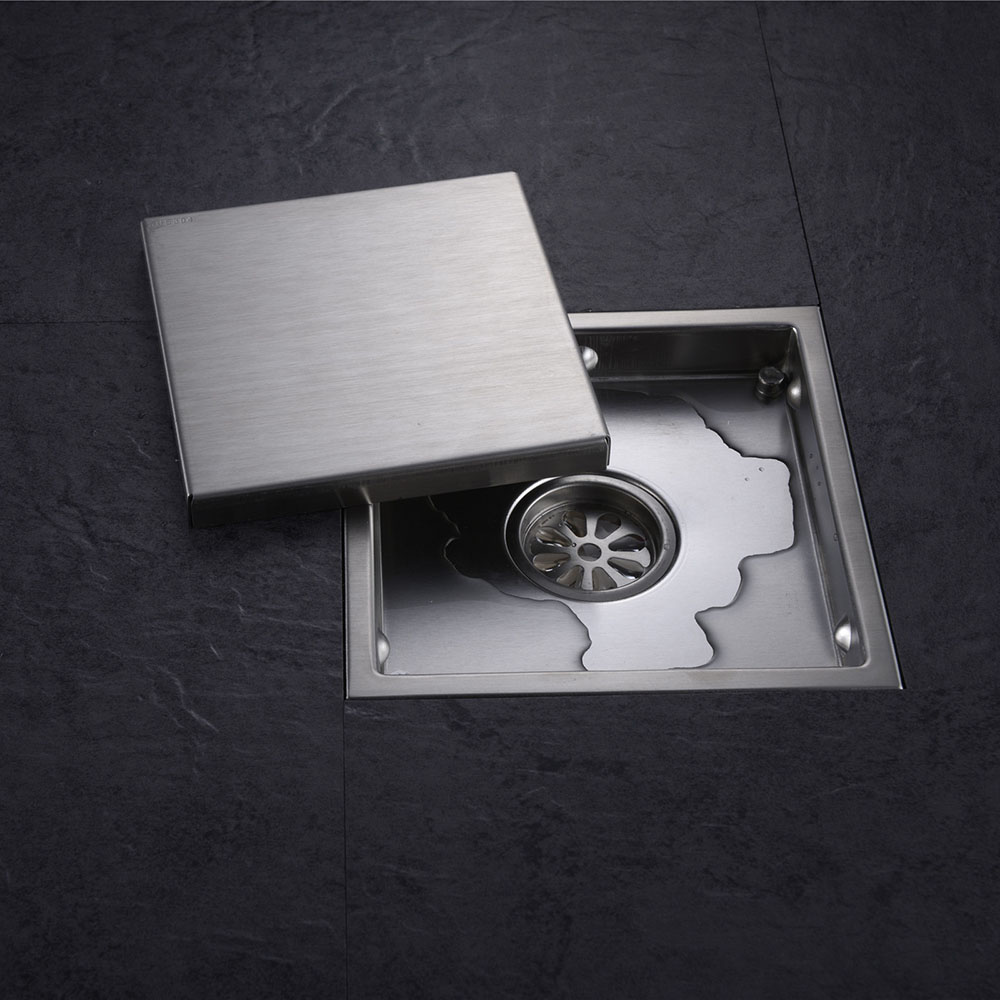 Tile Insert Square Floor Drain Waste Grates Bathroom invisible Shower Drain 110 x 110MM or 150 x 150MM,304 Stainless steel