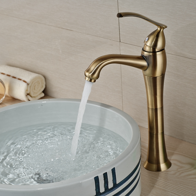 Wholesale And Retail Luxury Antique Bronze Bathroom Basin Faucet Tall Vanity Sink Mixer Tap Single Handle Hole Hot and Cold