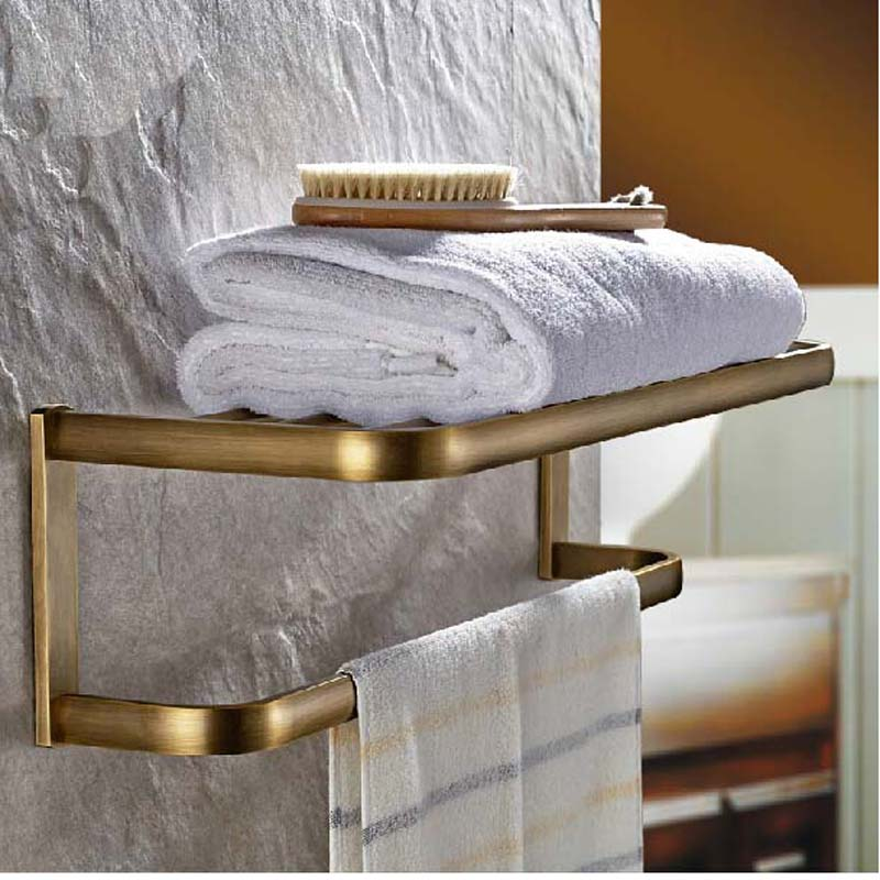 Wholdsale And Retail NEW Antique Brass Wall Mounted Bathroom Shelf Towel Rack Holder With Towel Bar