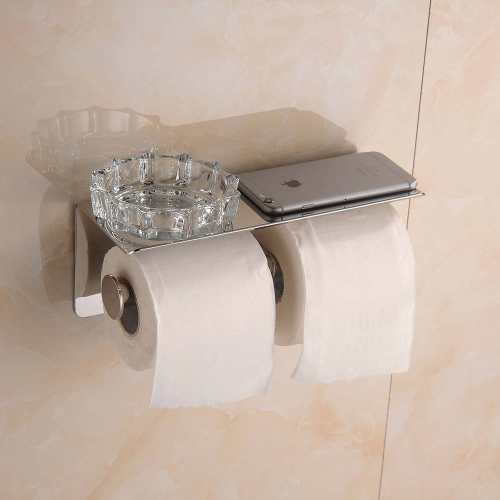 High-quality Bathroom Wall-Mount Tissue Holder/ Toilet Roll Paper Holder with Shelf, Chrome Stainless Steel   08-054