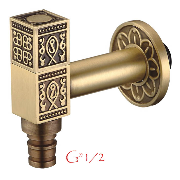 "Antique brass G""1/2  in wall washing machine tap"