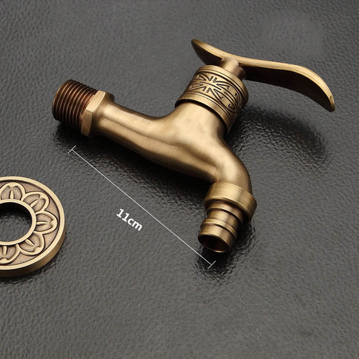 Wholesale And Retail Antique Brass Cross Handle Washing Machine Faucet Wall Mounted mop  Pool Sink Tap