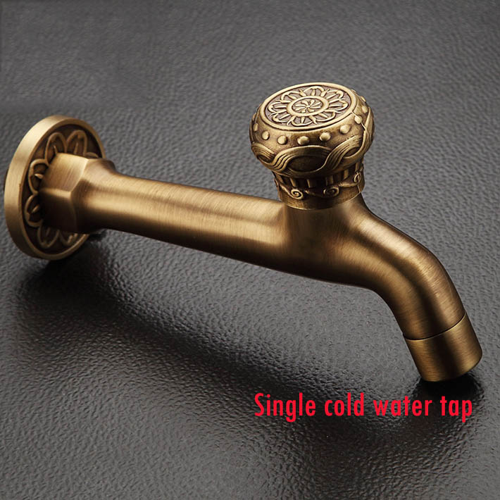 2015 new arrival Antique Brass Extended Mop Pool Tap Wall Mount Single Cold Water Washing Machine Faucet