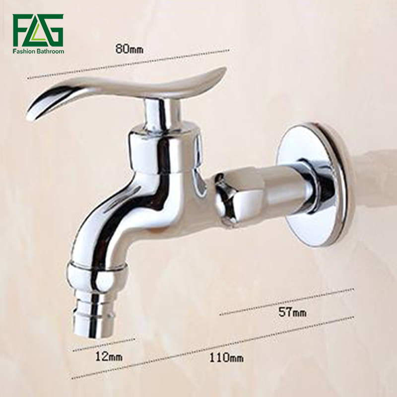 FLG Zinc-alloy Bibcock, Cold Tap, Chrome Polished Washing Machine Faucet, Toilet Bibcock Garden Faucet Wall Mounted Toilet Tap