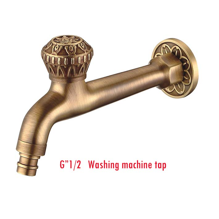 Wholesale and Retail Long Antique Brass Wall Mount Washing Machine Tap Single Lever Cold water mixer Mop Pool Faucet