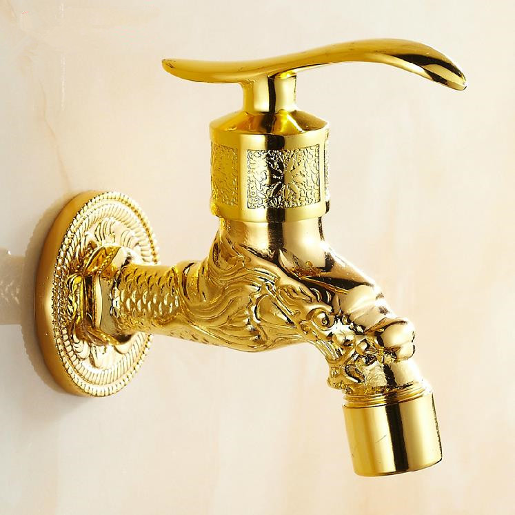 Bibcocks Golden Wall Mounted Single Handle Extend Washing Machine Faucet Brass Cold Water & Mop Pool Taps Home Decoration T-2068