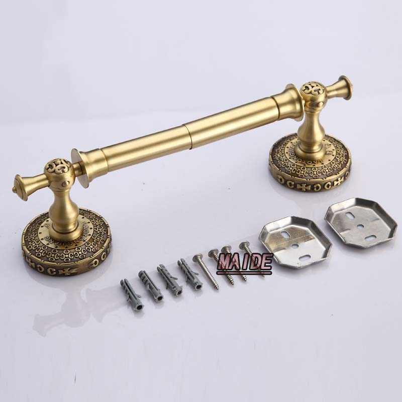 High quality Classic Antique Brass Art Toilet Paper Holder Roll Tissue Bracket Wall Mounted Tissue Bar Holder