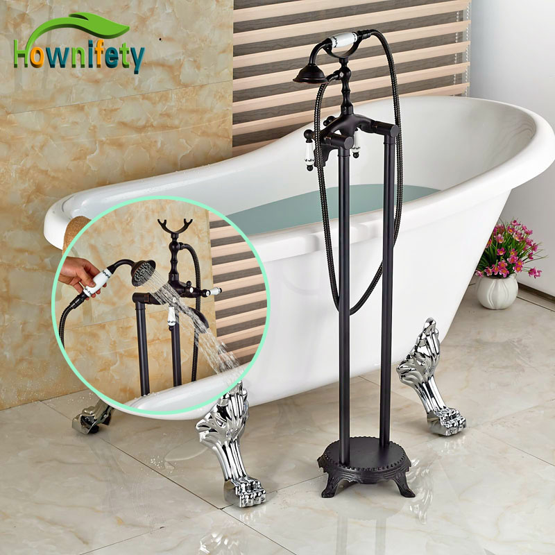 Luxury Oil Rubbed Bronze Bathtub Faucet Hot&Cold Water Faucet with Blue and White Porcelain Handles