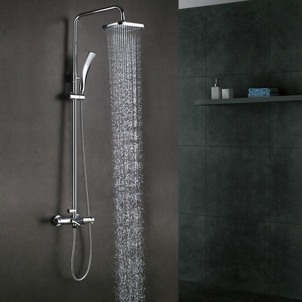 Thermostatic Bathrube & Shower System Rainfall Shower Head Adjustable Shower Bar Wall Mount TRIPLE FUNCTION,Chrome