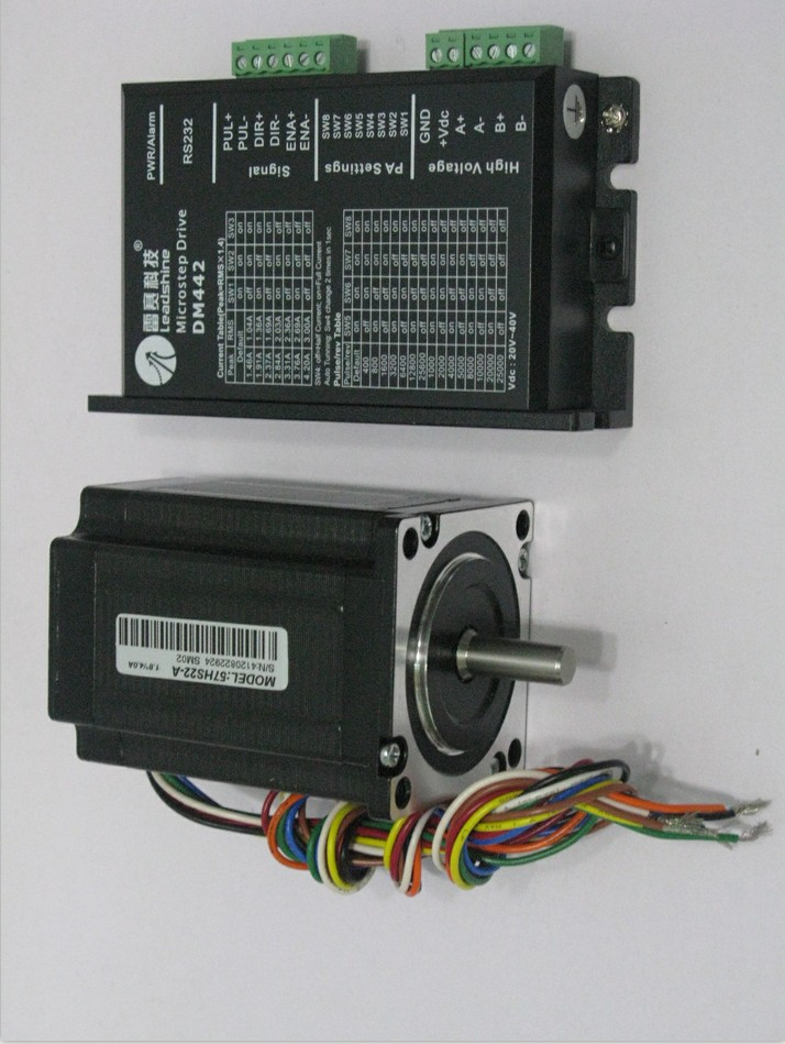 Leadshine Stepper Motor Drive 2.2NM  57HS22+DM442 2ph 2.8A  NEMA23 57mm 18~40VDC For CNC Engraving Machine