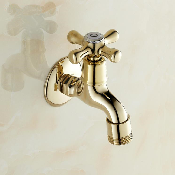 Bibcock Gold Brass Wall Mount Washing Machine Faucet Bathroom Corner Small Tap Mop Pool Decorative Outdoor Garden Faucet 8587K