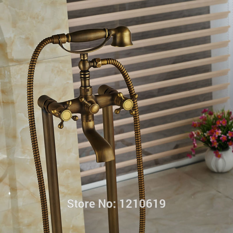 Newly Antique Brass Bathtub Faucet Mixer Tap Floor Standing Shower Tub Faucet w/ Hand Shower Soild Brass
