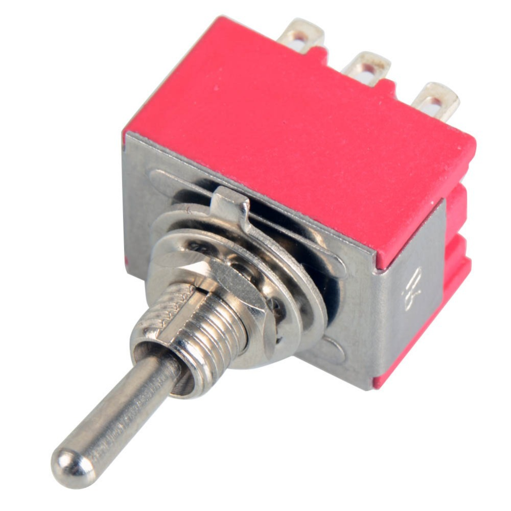 1Pcs 9-Pin Mini Toggle Switch 3PDT 2 Position ON-ON 2A250V/5A125VAC VE070 P