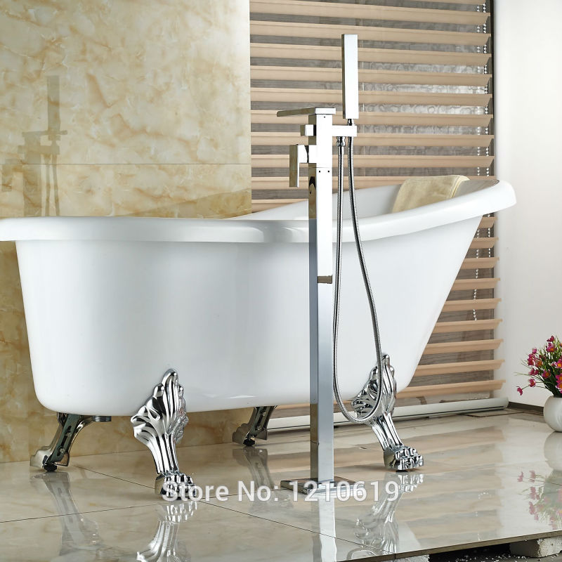 Newly Floor Type Waterfall Bathtub Faucet Mixer Tap Chrome Shower Tub Faucet w/ ABS Hand Shower Single Handle