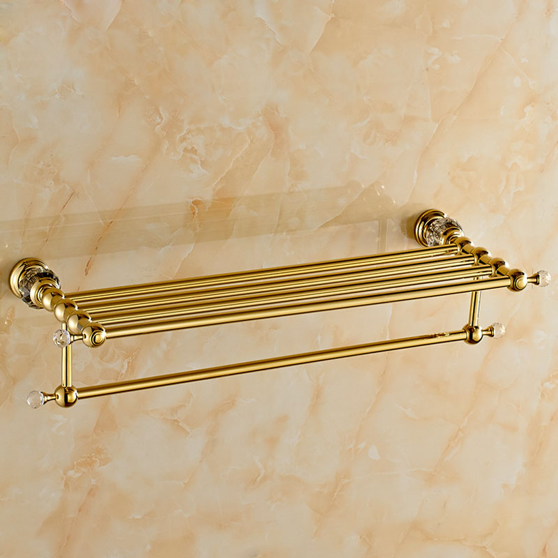 Wholesale And Retail Luxury Golden Brass Bathroom Towel Rack Holder Wall Mounted Towel Shelf W/ Towel Bar Holder
