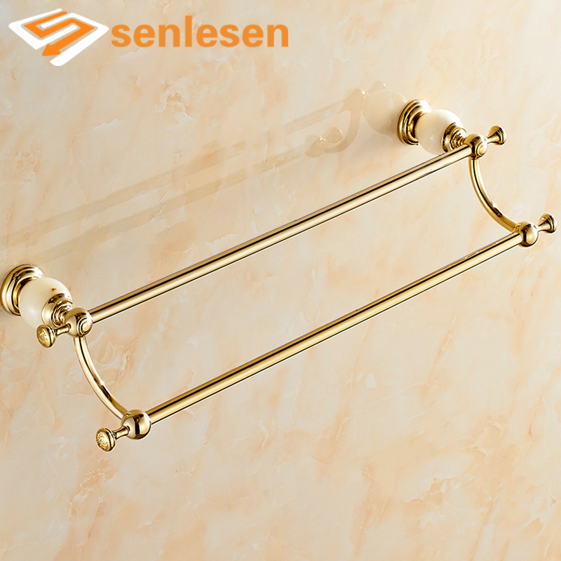 Luxury Wall Mounted Double Towel Holders Towel Bars Marble & Brass Hangers Gold Finish